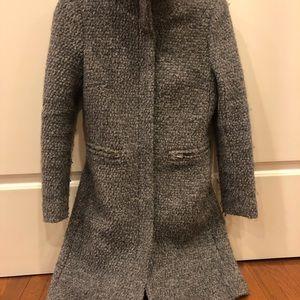 Light Gray Wool Boucle Coat